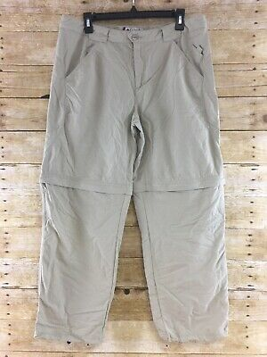 Columbia Titanium Convertible Pants Womens 12 Short Nylon Hiking Camping Beige
