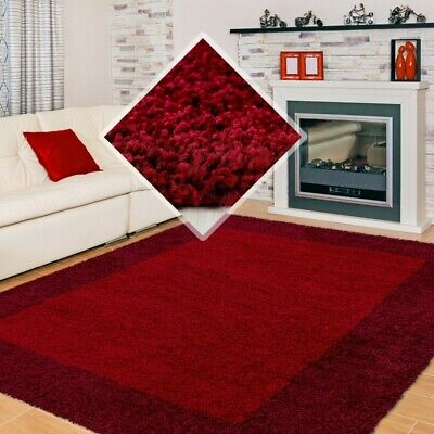 SMALL X EXTRA LARGE THICK 30mm HIGH PILE SOFT PLAIN NONSHED LIFE SHAGGY RUG-Red