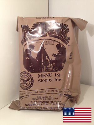 MRE US. RATION COMBAT. MEAL READY TO EAT. MENU 19. uk