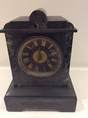 Antique Victorian French Mantel Clock Japy Freres Black Slate & Marble Chiming