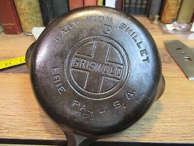 Griswold Cast Iron # 3 Skillet 709 B Large Block Cleaned ERIE PA USA ANTIQUE