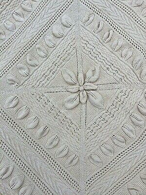 """C 1900 Finely Knit Cotton Bedspread Hand Knitted French Bedspread 82"""" X 105"""