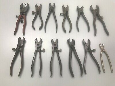 Very Rare Antique Vintage LOT of 12 HOG/PIG RINGER TOOLS/PLIERS SWINE RINGERS