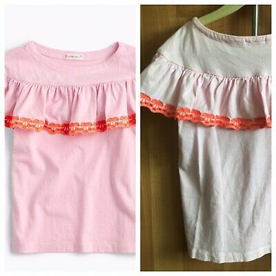 Crewcuts J crew pink and orange embroiled ruffle shoulder top 6/7 shirt blouse
