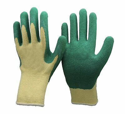 Unisex Green & Yellow Gardening Gloves- Gardeners, Work, DIY -Polycotton & Latex