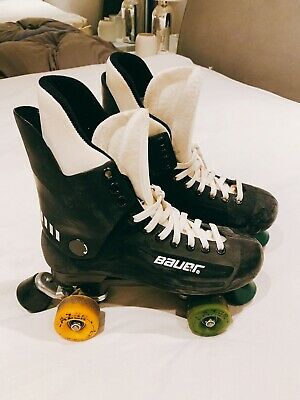 Bauer Turbo Original Quad Roller Skates size 6 Uk Black With Carry Bag And Pads