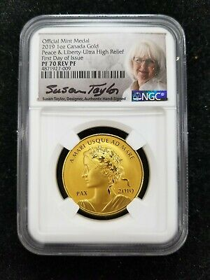 2019 Canada 1 oz Gold Peace & Liberty Medal Ultra High Relief NGC PF70 Rev PF