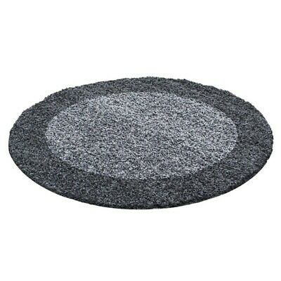 Circle Round Bordered Soft Life Shaggy Rug 30mm High Pile NonShed Area Mat-Grey