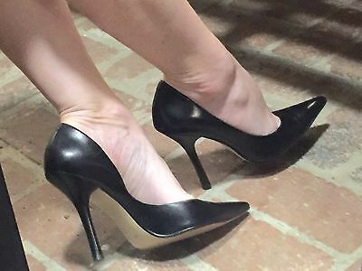 5d60616a9b *BLacK LeATheR Sz 8.5 Pointy Toe CARRIE Stilettos High Heels PUMP GuESS  Spike