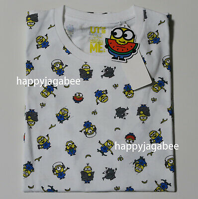 544c0ed871a UNIQLO Men UT 2019 MINIONS Graphic Tee White Full Patern NEW Japan 419373