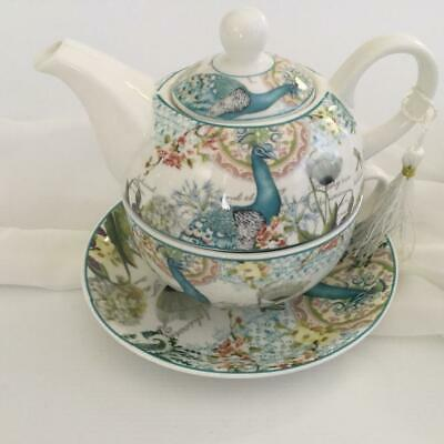 Tea For One Peacock Flowers And Dragonfly Gift Boxed Tea Cup And Teapot Set