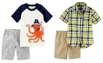 Carter's Toddler Boys 2 Pc Shirt & Shorts Set NWT 100% Cotton  Size 2T  or  3T