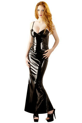 Lack-Kleid schwarz langes Lack Abendkleid Black Level party long dress M 40 42