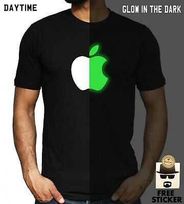 APPLE Logo T shirt GLOW IN THE DARK NEW trendy iPhone Unisex Fashion Top S - 3XL