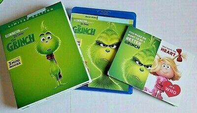 Dr Seuss' The Grinch NEW Bluray +case/cover/slip/valentine only-no digital 2019