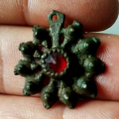 Superb Roman Bronze Pendant with Red Stone/Glass