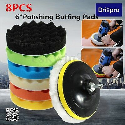 8x 6'' 150mm Sponge Polishing Waxing Buffing Pads Kit Compound Auto Car + Drill