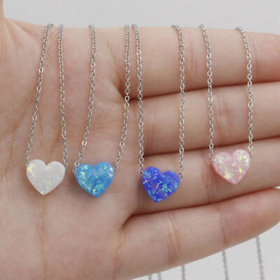 925 Silver Plated 10mm Opal Love Heart Gemstone Fashion Jewelry Pendant Necklace