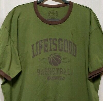 feedb598 Life Is Good Mens Sz XL Basketball T-Shirt Ringer Olive Brown Cotton Tee  Shirt