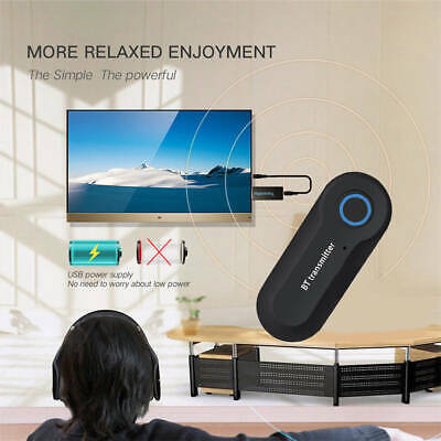 Powered Home Wireless Bluetooth Audio Transmitter 3.5MM Stereo Audio TV Adapter