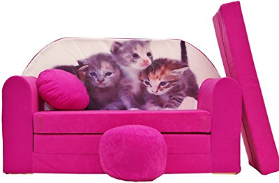 Pro Cosmo H6 Kids Sofa Bed Futon with Pouffe/Footstool/Pillow, Fabric, Pink, 168