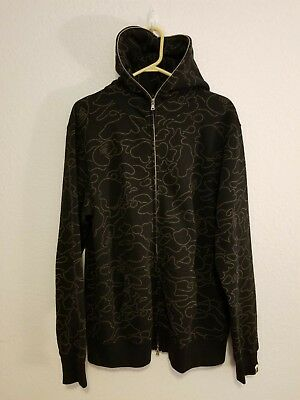 992e0490 A Bathing Ape Bape Neon Line Camo Full Zip Hoodie Black Xl Great Pre Owned  Condi