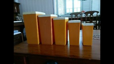 Set of 5 Vintage 1970's Capri Australia Kitchen Storage Containers / Canisters