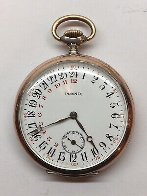 Antique 1900s Phenix Astronomical Sidereal 24 Hour Pocket Watch Silver Gold Rare