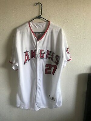96cc229ea Los Angeles Angels Mike Trout  27 White Majestic Cool Base Jersey Size 52