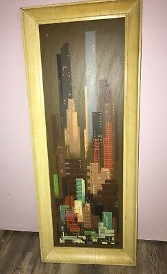 "Vtg MCM Charles Bunnell Abstract New York City Silkscreen Art Print 18"" x 30"""