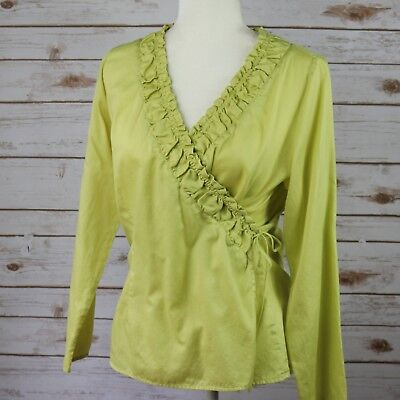 1c6666f382d6a J JILL Ruched Ruffle Wrap VNeck Yellow Chartreuse Top Blouse Long sleeve  Women M