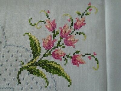 """Antique Linen Hand embroidered Tulips small tablecloth  Measures: 33"""" x 33"""""""