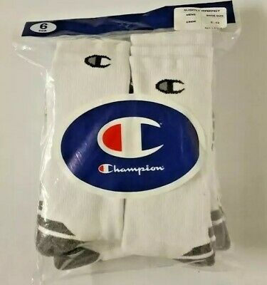Champion Double Dry 6 Pack White Performance Men's CREW Socks SIZE 6-12