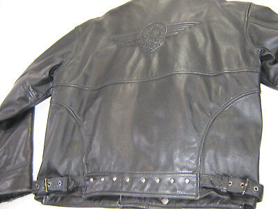 vintage mens harley davidson leather jacket m black fatboy embossed zip fat bar
