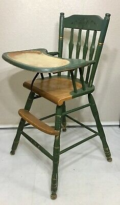 Antique *VINTAGE* GREEN HANDPAINTED High Chair Leather Strap *NICE*