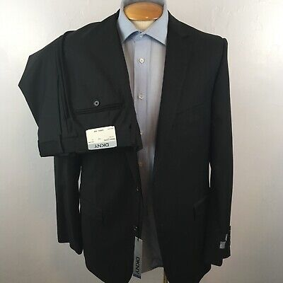 New dkny 2 piece mens suit solid black slim fit 42r 100% wool jacket pant ea0056