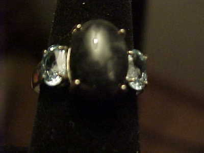 Nice Simple Charcoal Oval Jade Designer Joy Sterling Silver Spinel Ring Size 7