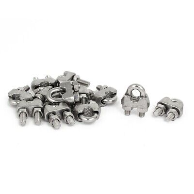 M6 1/4 Inch 304 Stainless Steel Saddle Clamps Cable Wire Rope Clips Fastene B1G5