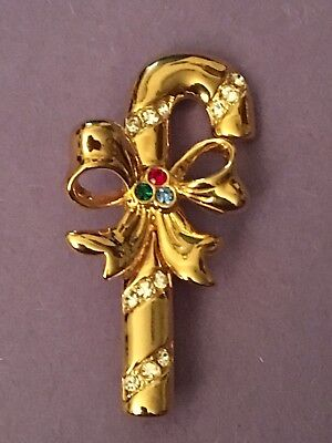 Signed Merksamer 1996 Christmas Gold Tone Rhinestone Candy Cane Pin Brooch