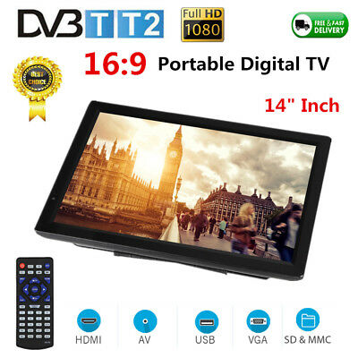 "Portable 14"" 1080P TFT LED Digital TV Television Player ATV/AV/USB/HDMI/VGA/SD"