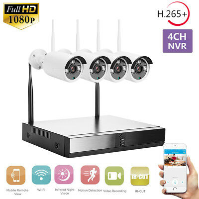 4CH WIFI 1080P NVR CCTV IP Camera Security System Webcam Outdoor IR Night Vision