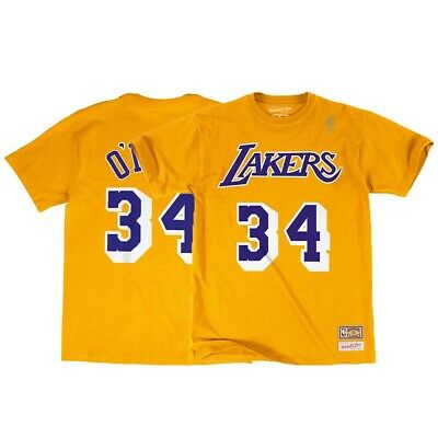 7ffedd4ab69 Shaquille O'Neal NBA Los Angeles Lakers Mitchell & Ness Gold Jersey T-Shirt