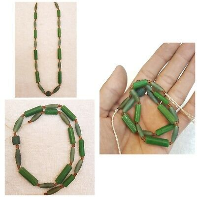 Beautiful Ancient Old Green Glass Strand Beads Wonderful  Swat Necklace #5Z