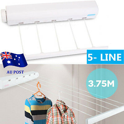 Heavy Duty Retractable 4 Line Wall-mounted Laundry Rack Clothes Hanger Line UN