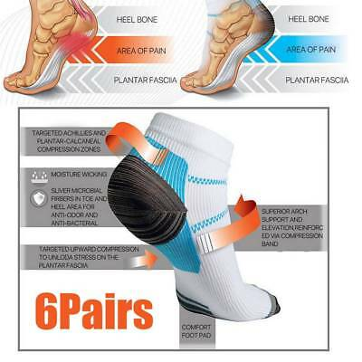 6 Pair Plantar Fasciitis Foot Pain Relief Sleeve Heel Ankle Sox Compression Sock