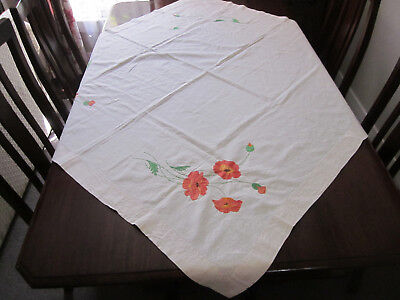 Partially Embroidered Orange Poppies Pure Linen Tablecloth To Finish