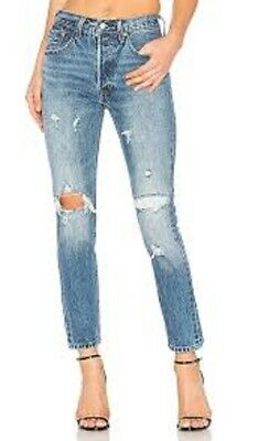 2aa1f61e LEVI'S 501 Skinny Distressed Patched Cone Denim Jeans Women's 31 x 28 $168  New