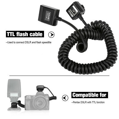 Meike 3 Meters TTL Off-Camera Flash Cable Hot Shoe Cord for Pentax DSLR Cameras