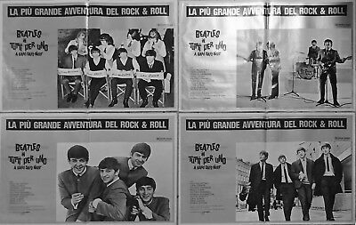 4 affiches serie complete Beatles Hard day's night Italie