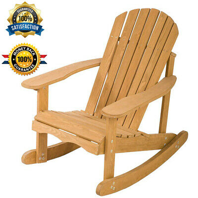Large Size Outdoor Garden Rocking Rest Adirondack Wood Chair Patio Furniture